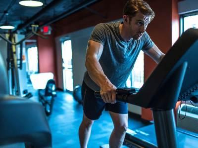 A man in treadmill in Gym