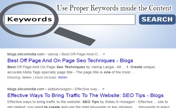 Use Proper Keywords inside the content